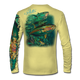 """Back view on pale yellow.  This shirt is truly awesome, featuring Jason Mathias's """"Yellowfin Tuna ball"""" fine art design sublimated onto our superior technology that definitely makes for a top favorite among all anglers and outdoor enthusiast world wide!  Say goodbye to sunburns and say hello to the supreme comfort of the Jason Mathias Solar Performance Long Sleeve shirt! This awesome shirt offers superior sun protection and performance qualities. So comfortable that you feel like you're not even wearing a shirt! Shirt doesn't snag or catch which makes it a must when doing what you do best! Featuring up to UPF +50 solar protection, the Solar Performance Long Sleeve is lightweight, comfortable, and sure to keep the sun's rays from penetrating through to your skin. This fabric is powered by PURE-tech™ moisture wicking technology which will keep you cooler in the summer and warmer in the winter.  Fabric: 4.1oz. 