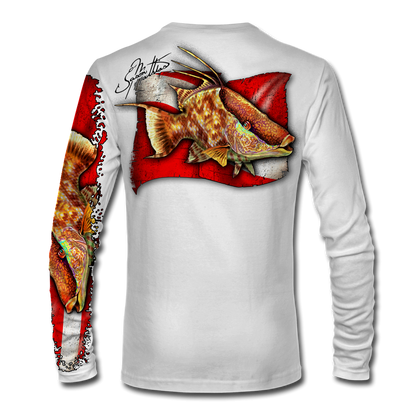 "Back view on white.   This shirt is truly awesome, featuring Jason Mathias's ""Hogfish"" fine art design sublimated onto our superior technology that definitely makes for a top favorite among all divers, freedivers, spear fisherman and outdoor enthusiast world wide!  Say goodbye to sunburns and say hello to the supreme comfort of the Jason Mathias Solar Performance Long Sleeve shirt! This awesome shirt offers superior sun protection and performance qualities. So comfortable that you feel like you're not even wearing a shirt! Shirt doesn't snag or catch which makes it a must when doing what you do best! Featuring up to UPF +50 solar protection, the Solar Performance Long Sleeve is lightweight, comfortable, and sure to keep the sun's rays from penetrating through to your skin. This fabric is powered by PURE-tech™ moisture wicking technology which will keep you cooler in the summer and warmer in the winter.  Fabric: 4.1oz. 