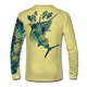 "Back view on pale yellow.  This shirt is truly awesome, featuring Jason Mathias's ""Blue Freedom"" which portrays an impressively lit up Blue Marlin ambushing a school of Tuna! This fine art design is sublimated onto our superior technology that definitely makes for a top favorite among all anglers and outdoor enthusiast world wide!  Say goodbye to sunburns and say hello to the supreme comfort of the Jason Mathias Solar Performance Long Sleeve shirt! This awesome shirt offers superior sun protection and performance qualities. So comfortable that you feel like you're not even wearing a shirt! Shirt doesn't snag or catch which makes it a must when doing what you do best! Featuring up to UPF +50 solar protection, the Solar Performance Long Sleeve is lightweight, comfortable, and sure to keep the sun's rays from penetrating through to your skin. This fabric is powered by PURE-tech™ moisture wicking technology which will keep you cooler in the summer and warmer in the winter.  Fabric: 4.1oz. 