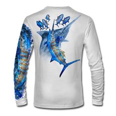 "Back view on white.  This shirt is truly awesome, featuring Jason Mathias's ""Blue Freedom"" which portrays an impressively lit up Blue Marlin ambushing a school of Tuna! This fine art design is sublimated onto our superior technology that definitely makes for a top favorite among all anglers and outdoor enthusiast world wide!  Say goodbye to sunburns and say hello to the supreme comfort of the Jason Mathias Solar Performance Long Sleeve shirt! This awesome shirt offers superior sun protection and performance qualities. So comfortable that you feel like you're not even wearing a shirt! Shirt doesn't snag or catch which makes it a must when doing what you do best! Featuring up to UPF +50 solar protection, the Solar Performance Long Sleeve is lightweight, comfortable, and sure to keep the sun's rays from penetrating through to your skin. This fabric is powered by PURE-tech™ moisture wicking technology which will keep you cooler in the summer and warmer in the winter.  Fabric: 4.1oz. 