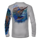 "Back view on pearl grey.  This shirt is truly awesome, featuring Jason Mathias's ""Running The Gauntlet and Wide Open"" which portrays a Blue Marlin and Sailfish slam! This fine art design is sublimated onto our superior technology that definitely makes for a top favorite among all anglers and outdoor enthusiast world wide!  Say goodbye to sunburns and say hello to the supreme comfort of the Jason Mathias Solar Performance Long Sleeve shirt! This awesome shirt offers superior sun protection and performance qualities. So comfortable that you feel like you're not even wearing a shirt! Shirt doesn't snag or catch which makes it a must when doing what you do best! Featuring up to UPF +50 solar protection, the Solar Performance Long Sleeve is lightweight, comfortable, and sure to keep the sun's rays from penetrating through to your skin. This fabric is powered by PURE-tech™ moisture wicking technology which will keep you cooler in the summer and warmer in the winter.  Fabric: 4.1oz. 