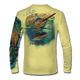 "Back view on pale yellow.  This shirt is truly awesome, featuring Jason Mathias's ""Running The Gauntlet and Wide Open"" which portrays a Blue Marlin and Sailfish slam! This fine art design is sublimated onto our superior technology that definitely makes for a top favorite among all anglers and outdoor enthusiast world wide!  Say goodbye to sunburns and say hello to the supreme comfort of the Jason Mathias Solar Performance Long Sleeve shirt! This awesome shirt offers superior sun protection and performance qualities. So comfortable that you feel like you're not even wearing a shirt! Shirt doesn't snag or catch which makes it a must when doing what you do best! Featuring up to UPF +50 solar protection, the Solar Performance Long Sleeve is lightweight, comfortable, and sure to keep the sun's rays from penetrating through to your skin. This fabric is powered by PURE-tech™ moisture wicking technology which will keep you cooler in the summer and warmer in the winter.  Fabric: 4.1oz. 
