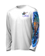 "Front view on white.  This shirt is truly awesome, featuring Jason Mathias's ""Running The Gauntlet and Wide Open"" which portrays a Blue Marlin and Sailfish slam! This fine art design is sublimated onto our superior technology that definitely makes for a top favorite among all anglers and outdoor enthusiast world wide!  Say goodbye to sunburns and say hello to the supreme comfort of the Jason Mathias Solar Performance Long Sleeve shirt! This awesome shirt offers superior sun protection and performance qualities. So comfortable that you feel like you're not even wearing a shirt! Shirt doesn't snag or catch which makes it a must when doing what you do best! Featuring up to UPF +50 solar protection, the Solar Performance Long Sleeve is lightweight, comfortable, and sure to keep the sun's rays from penetrating through to your skin. This fabric is powered by PURE-tech™ moisture wicking technology which will keep you cooler in the summer and warmer in the winter.  Fabric: 4.1oz. 