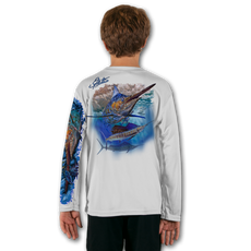 White  Stay cool with Jason Mathias's popular line of T Shirts for boys and girls. Catch your kids a Jason Mathias shirt to match the one that you have, or help inspire their love for their favorite fish species through a youth Jason Mathias tee. Such as this awesome scene featuring a Hulk of a Blue Marlin and Sailfish muscling their way through the open ocean. This fine art design is sublimated onto our superior technology that definitely makes for a top favorite among all young anglers and outdoor enthusiast world wide!  Say goodby to sunburns and say hello to the supreme comfort of the Jason Mathias youth Solar Performance Long Sleeve shirt! This awesome shirt offers superior sun protection and performance qualities. So comfortable that you feel like you're not even wearing a shirt! Shirt doesn't snag or catch which makes it a must when doing what you do best! Featuring up to UPF +50 solar protection, the Solar Performance Long Sleeve is lightweight, comfortable, and sure to keep the sun's rays from penetrating through to your skin. This fabric is powered by PURE-tech™ moisture wicking technology which will keep you cooler in the summer and warmer in the winter.  The Solar Long Sleeve features UPF+ 50. It is lightweight, comfortable, and sure to keep the sun's rays from penetrating through to your skin. This fabric is powered by PURE-tech™ moisture wicking technology.  Fabric: 4.1oz. / 100% Performance w/ UPF Protection  Made in USA