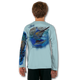 Arctic Blue  Stay cool with Jason Mathias's popular line of T Shirts for boys and girls. Catch your kids a Jason Mathias shirt to match the one that you have, or help inspire their love for their favorite fish species through a youth Jason Mathias tee. Such as this awesome scene featuring a Hulk of a Blue Marlin and Sailfish muscling their way through the open ocean. This fine art design is sublimated onto our superior technology that definitely makes for a top favorite among all young anglers and outdoor enthusiast world wide!  Say goodby to sunburns and say hello to the supreme comfort of the Jason Mathias youth Solar Performance Long Sleeve shirt! This awesome shirt offers superior sun protection and performance qualities. So comfortable that you feel like you're not even wearing a shirt! Shirt doesn't snag or catch which makes it a must when doing what you do best! Featuring up to UPF +50 solar protection, the Solar Performance Long Sleeve is lightweight, comfortable, and sure to keep the sun's rays from penetrating through to your skin. This fabric is powered by PURE-tech™ moisture wicking technology which will keep you cooler in the summer and warmer in the winter.  The Solar Long Sleeve features UPF+ 50. It is lightweight, comfortable, and sure to keep the sun's rays from penetrating through to your skin. This fabric is powered by PURE-tech™ moisture wicking technology.  Fabric: 4.1oz. / 100% Performance w/ UPF Protection  Made in USA