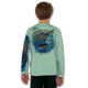 Seagrass green  Stay cool with Jason Mathias's popular line of T Shirts for boys and girls. Catch your kids a Jason Mathias shirt to match the one that you have, or help inspire their love for their favorite fish species through a youth Jason Mathias tee. Such as this awesome scene featuring a Hulk of a Blue Marlin and Sailfish muscling their way through the open ocean. This fine art design is sublimated onto our superior technology that definitely makes for a top favorite among all young anglers and outdoor enthusiast world wide!  Say goodby to sunburns and say hello to the supreme comfort of the Jason Mathias youth Solar Performance Long Sleeve shirt! This awesome shirt offers superior sun protection and performance qualities. So comfortable that you feel like you're not even wearing a shirt! Shirt doesn't snag or catch which makes it a must when doing what you do best! Featuring up to UPF +50 solar protection, the Solar Performance Long Sleeve is lightweight, comfortable, and sure to keep the sun's rays from penetrating through to your skin. This fabric is powered by PURE-tech™ moisture wicking technology which will keep you cooler in the summer and warmer in the winter.  The Solar Long Sleeve features UPF+ 50. It is lightweight, comfortable, and sure to keep the sun's rays from penetrating through to your skin. This fabric is powered by PURE-tech™ moisture wicking technology.  Fabric: 4.1oz. / 100% Performance w/ UPF Protection  Made in USA