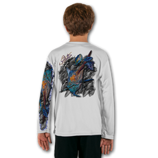 White  Stay cool with Jason Mathias's popular line of T-shirts for boys and girls! Catch your kids a Jason Mathias youth tee to match the one that you have, or help inspire their love for their favorite fish species like this awesome scene featuring a massive Blue Marlin muscling his way through giant school of Tuna. This fine art design is sublimated using superior technology that definitely makes for a top favorite among all young anglers and outdoor enthusiasts worldwide!  Say goodbye to sunburns and hello to the supreme comfort of the Jason Mathias youth Solar Performance Long Sleeve shirt! This awesome shirt offers superior sun protection and performance qualities. It is so comfortable that you will feel like you're not even wearing a shirt! Our shirts don't snag or catch, which makes it a must when doing what you do best! Featuring up to UPF +50 solar protection, the Solar Performance Long Sleeve is lightweight, comfortable, and sure to keep the sun's rays from penetrating through to your skin. This fabric is powered by PURE-tech™ moisture wicking technology which will keep you cooler in the summer and warmer in the winter.  Fabric: 4.1oz. / 100% Performance w/ UPF Protection  Made in USA