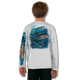 White  tuna-white-youth-solar-ls-back-performance-shirt.png  Stay cool with Jason Mathias's popular line of T-shirts for boys and girls! Catch your kids a Jason Mathias youth tee to match the one that you have, or help inspire their love for their favorite fish species like this awesome scene featuring a whimsical Yellowfin Tuna colorfully shimmering against its underwater world. This fine art design is sublimated using superior technology that definitely makes for a top favorite among all young anglers and outdoor enthusiasts worldwide!  Say goodbye to sunburns and hello to the supreme comfort of the Jason Mathias youth Solar Performance Long Sleeve shirt! This awesome shirt offers superior sun protection and performance qualities. It is so comfortable that you will feel like you're not even wearing a shirt! Our shirts don't snag or catch, which makes it a must when doing what you do best! Featuring up to UPF +50 solar protection, the Solar Performance Long Sleeve is lightweight, comfortable, and sure to keep the sun's rays from penetrating through to your skin. This fabric is powered by PURE-tech™ moisture wicking technology which will keep you cooler in the summer and warmer in the winter.  Fabric: 4.1oz. / 100% Performance w/ UPF Protection  Made in USA