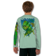 Seagrass Green   Stay cool with Jason Mathias's popular line of T-shirts for boys and girls! Catch your kids a Jason Mathias youth tee to match the one that you have, or help inspire their love for their favorite fish species like this awesome scene featuring a brightly colorful Mahi, Dorado or Dolphin Fish stalking the sargassum week lines in search for some Ballyhoo. This fine art design is sublimated using superior technology that definitely makes for a top favorite among all young anglers and outdoor enthusiasts worldwide!  Say goodbye to sunburns and hello to the supreme comfort of the Jason Mathias youth Solar Performance Long Sleeve shirt! This awesome shirt offers superior sun protection and performance qualities. It is so comfortable that you will feel like you're not even wearing a shirt! Our shirts don't snag or catch, which makes it a must when doing what you do best! Featuring up to UPF +50 solar protection, the Solar Performance Long Sleeve is lightweight, comfortable, and sure to keep the sun's rays from penetrating through to your skin. This fabric is powered by PURE-tech™ moisture wicking technology which will keep you cooler in the summer and warmer in the winter.  Fabric: 4.1oz. / 100% Performance w/ UPF Protection  Made in USA