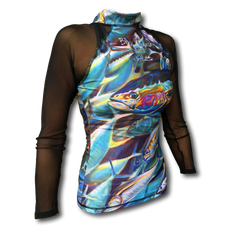 """Jason Mathias Art and Bliss Splash team up to bring you this popular line of woman's RashGuards! Artwork created and designed by Jason Mathias featuring a colorful and whimsical Yellowfin Tuna pattern from his painting """"Sushi Roll"""". This fine art design is sublimated using superior technology that definitely makes for a top favorite among woman anglers, surfers and divers worldwide!  Protect your skin from the sun in our Newly Designed RashGuard Semi-fitted cut provides comfortable wear with its four-way stretch fabric technology. UPF 50+ fabrication protects your skin during outdoor activity by blocking harmful Ultraviolet A and Ultraviolet B rays (UVA and UVB). Mesh arms are UPF 30+ Stand collar extends coverage. Front zip opening allows increased and adjustable ventilation. Brand mark on the back top center 82% nylon, 18% spandex. Machine wash cold, hang or lay flat to dry Imported."""