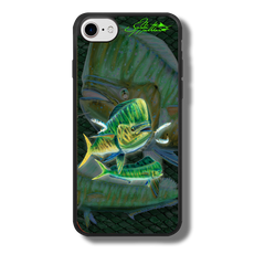 """iPhone 7 fine art phone case"" by artist Jason Mathias: Carry around this unique piece of personalized art of a lit up Mahi, Dorado or Dolphin chasing a school of Ballyhoo while protecting your phone all at the same time!  Our phone cases provide superior quality when compared with other slim silicone rubber cases. Our case provides a layer of silicone protection- and an extended lip to protect your phone screen from touching or rubbing on surfaces. Our cases also have a comfortable textured grip and easy access to all buttons and plugins. The art plate is extremely tough, a well shielded sublimated aluminum fine art plate that wont fade or scratch.  Case provides effective protection from dust, damage or any other unexpected situations.  (Made in the USA)"
