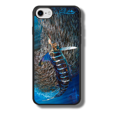 """iPhone 7 fine art phone case"" by artist Jason Mathias: Carry around this unique piece of personalized art of a Striped Marlin corralling a school of Tinker Mackerel while protecting your phone all at the same time!  Our phone cases provide superior quality when compared with other slim silicone rubber cases. Our case provides a layer of silicone protection- and an extended lip to protect your phone screen from touching or rubbing on surfaces. Our cases also have a comfortable textured grip and easy access to all buttons and plugins. The art plate is extremely tough, a well shielded sublimated aluminum fine art plate that wont fade or scratch.  Case provides effective protection from dust, damage or any other unexpected situations.  (Made in the USA)"