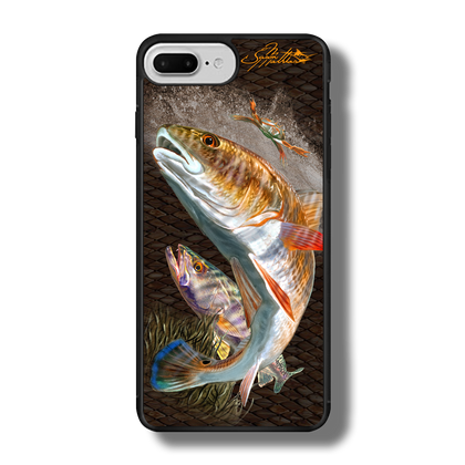 """iPhone 7 Plus fine art phone case"""" by artist Jason Mathias: Carry around this unique piece of personalized art of a brilliant Redfish and Speckled Sea Trout ambushing a crab while protecting your phone all at the same time!  Our phone cases provide superior quality when compared with other slim silicone rubber cases. Our case provides a layer of silicone protection- and an extended lip to protect your phone screen from touching or rubbing on surfaces. Our cases also have a comfortable textured grip and easy access to all buttons and plugins. The art plate is extremely tough, a well shielded sublimated aluminum fine art plate that wont fade or scratch.  Case provides effective protection from dust, damage or any other unexpected situations.  (Made in the USA)"""