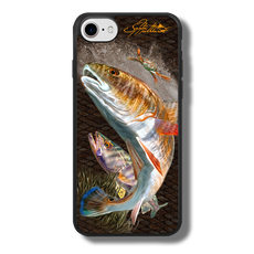 "iPhone 7 fine art phone case"" by artist Jason Mathias: Carry around this unique piece of personalized art of a brilliant Redfish and Speckled Sea Trout ambushing a crab while protecting your phone all at the same time!  Our phone cases provide superior quality when compared with other slim silicone rubber cases. Our case provides a layer of silicone protection- and an extended lip to protect your phone screen from touching or rubbing on surfaces. Our cases also have a comfortable textured grip and easy access to all buttons and plugins. The art plate is extremely tough, a well shielded sublimated aluminum fine art plate that wont fade or scratch.  Case provides effective protection from dust, damage or any other unexpected situations.  (Made in the USA)"