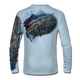 """Back view on pale blue.  This shirt is truly awesome, featuring Jason Mathias's """"Majesty"""" which portrays a lit up Sailfish corralling a giant baitball! This fine art design is sublimated onto our superior technology that definitely makes for a top favorite among all anglers and outdoor enthusiast world wide!   Say goodbye to sunburns and say hello to the supreme comfort of the Jason Mathias Solar Performance Long Sleeve shirt! This awesome shirt offers superior sun protection and performance qualities. So comfortable that you feel like you're not even wearing a shirt! Shirt doesn't snag or catch which makes it a must when doing what you do best! Featuring up to UPF +50 solar protection, the Solar Performance Long Sleeve is lightweight, comfortable, and sure to keep the sun's rays from penetrating through to your skin. This fabric is powered by PURE-tech™ moisture wicking technology which will keep you cooler in the summer and warmer in the winter."""