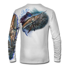 "Back view on white.  This shirt is truly awesome, featuring Jason Mathias's ""Majesty"" which portrays a lit up Sailfish corralling a giant baitball! This fine art design is sublimated onto our superior technology that definitely makes for a top favorite among all anglers and outdoor enthusiast world wide!   Say goodbye to sunburns and say hello to the supreme comfort of the Jason Mathias Solar Performance Long Sleeve shirt! This awesome shirt offers superior sun protection and performance qualities. So comfortable that you feel like you're not even wearing a shirt! Shirt doesn't snag or catch which makes it a must when doing what you do best! Featuring up to UPF +50 solar protection, the Solar Performance Long Sleeve is lightweight, comfortable, and sure to keep the sun's rays from penetrating through to your skin. This fabric is powered by PURE-tech™ moisture wicking technology which will keep you cooler in the summer and warmer in the winter."