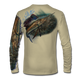 "Back view on tan.  This shirt is truly awesome, featuring Jason Mathias's ""Majesty"" which portrays a lit up Sailfish corralling a giant baitball! This fine art design is sublimated onto our superior technology that definitely makes for a top favorite among all anglers and outdoor enthusiast world wide!   Say goodbye to sunburns and say hello to the supreme comfort of the Jason Mathias Solar Performance Long Sleeve shirt! This awesome shirt offers superior sun protection and performance qualities. So comfortable that you feel like you're not even wearing a shirt! Shirt doesn't snag or catch which makes it a must when doing what you do best! Featuring up to UPF +50 solar protection, the Solar Performance Long Sleeve is lightweight, comfortable, and sure to keep the sun's rays from penetrating through to your skin. This fabric is powered by PURE-tech™ moisture wicking technology which will keep you cooler in the summer and warmer in the winter."
