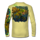 """Back view on pale yellow.  This shirt is truly awesome, featuring Jason Mathias's """"Seaweed Salad"""" A Mahi, Dorado or Dolphin busting through the weedline after flyingfish. You will also notice other various creatures found in the weedline hiding from pelagic predators. fine art design sublimated onto our superior technology that definitely makes for a top favorite among all anglers and outdoor enthusiast world wide!  Say goodbye to sunburns and say hello to the supreme comfort of the Jason Mathias Solar Performance Long Sleeve shirt! This awesome shirt offers superior sun protection and performance qualities. So comfortable that you feel like you're not even wearing a shirt! Shirt doesn't snag or catch which makes it a must when doing what you do best! Featuring up to UPF +50 solar protection, the Solar Performance Long Sleeve is lightweight, comfortable, and sure to keep the sun's rays from penetrating through to your skin. This fabric is powered by PURE-tech™ moisture wicking technology which will keep you cooler in the summer and warmer in the winter.  Fabric: 4.1oz. 