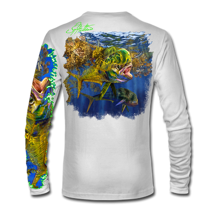 """Back view on white.   This shirt is truly awesome, featuring Jason Mathias's """"Seaweed Salad"""" A Mahi, Dorado or Dolphin busting through the weedline after flyingfish. You will also notice other various creatures found in the weedline hiding from pelagic predators. fine art design sublimated onto our superior technology that definitely makes for a top favorite among all anglers and outdoor enthusiast world wide!  Say goodbye to sunburns and say hello to the supreme comfort of the Jason Mathias Solar Performance Long Sleeve shirt! This awesome shirt offers superior sun protection and performance qualities. So comfortable that you feel like you're not even wearing a shirt! Shirt doesn't snag or catch which makes it a must when doing what you do best! Featuring up to UPF +50 solar protection, the Solar Performance Long Sleeve is lightweight, comfortable, and sure to keep the sun's rays from penetrating through to your skin. This fabric is powered by PURE-tech™ moisture wicking technology which will keep you cooler in the summer and warmer in the winter.  Fabric: 4.1oz. 