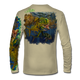 """Back view on tan.  This shirt is truly awesome, featuring Jason Mathias's """"Seaweed Salad"""" A Mahi, Dorado or Dolphin busting through the weedline after flyingfish. You will also notice other various creatures found in the weedline hiding from pelagic predators. fine art design sublimated onto our superior technology that definitely makes for a top favorite among all anglers and outdoor enthusiast world wide!  Say goodbye to sunburns and say hello to the supreme comfort of the Jason Mathias Solar Performance Long Sleeve shirt! This awesome shirt offers superior sun protection and performance qualities. So comfortable that you feel like you're not even wearing a shirt! Shirt doesn't snag or catch which makes it a must when doing what you do best! Featuring up to UPF +50 solar protection, the Solar Performance Long Sleeve is lightweight, comfortable, and sure to keep the sun's rays from penetrating through to your skin. This fabric is powered by PURE-tech™ moisture wicking technology which will keep you cooler in the summer and warmer in the winter.  Fabric: 4.1oz. 