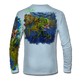 """Back view on arctic blue.  This shirt is truly awesome, featuring Jason Mathias's """"Seaweed Salad"""" A Mahi, Dorado or Dolphin busting through the weedline after flyingfish. You will also notice other various creatures found in the weedline hiding from pelagic predators. fine art design sublimated onto our superior technology that definitely makes for a top favorite among all anglers and outdoor enthusiast world wide!  Say goodbye to sunburns and say hello to the supreme comfort of the Jason Mathias Solar Performance Long Sleeve shirt! This awesome shirt offers superior sun protection and performance qualities. So comfortable that you feel like you're not even wearing a shirt! Shirt doesn't snag or catch which makes it a must when doing what you do best! Featuring up to UPF +50 solar protection, the Solar Performance Long Sleeve is lightweight, comfortable, and sure to keep the sun's rays from penetrating through to your skin. This fabric is powered by PURE-tech™ moisture wicking technology which will keep you cooler in the summer and warmer in the winter.  Fabric: 4.1oz. 