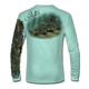 "Back view on seagrass green.   This shirt is truly awesome, featuring Jason Mathias's ""Ambush"" A Flounder or Fluke ambushing an artificial bait. Fine art design is sublimated onto our superior technology that definitely makes for a top favorite among all anglers and outdoor enthusiast world wide!  Say goodbye to sunburns and say hello to the supreme comfort of the Jason Mathias Solar Performance Long Sleeve shirt! This awesome shirt offers superior sun protection and performance qualities. So comfortable that you feel like you're not even wearing a shirt! Shirt doesn't snag or catch which makes it a must when doing what you do best! Featuring up to UPF +50 solar protection, the Solar Performance Long Sleeve is lightweight, comfortable, and sure to keep the sun's rays from penetrating through to your skin. This fabric is powered by PURE-tech™ moisture wicking technology which will keep you cooler in the summer and warmer in the winter.  Fabric: 4.1oz. 