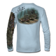 "Back view on arctic blue.   This shirt is truly awesome, featuring Jason Mathias's ""Ambush"" A Flounder or Fluke ambushing an artificial bait. Fine art design is sublimated onto our superior technology that definitely makes for a top favorite among all anglers and outdoor enthusiast world wide!  Say goodbye to sunburns and say hello to the supreme comfort of the Jason Mathias Solar Performance Long Sleeve shirt! This awesome shirt offers superior sun protection and performance qualities. So comfortable that you feel like you're not even wearing a shirt! Shirt doesn't snag or catch which makes it a must when doing what you do best! Featuring up to UPF +50 solar protection, the Solar Performance Long Sleeve is lightweight, comfortable, and sure to keep the sun's rays from penetrating through to your skin. This fabric is powered by PURE-tech™ moisture wicking technology which will keep you cooler in the summer and warmer in the winter.  Fabric: 4.1oz. 