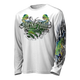 """This shirt is truly awesome, featuring Jason Mathias's fine art rendition of a lit up Mahi Mahi, Dorado or Dolphin, busting and ripping right out of the shirt after a school of Flying fish is sure to catch the eye and the fish. fine art design is sublimated onto our superior technology that definitely makes for a top favorite among all anglers and outdoor enthusiast world wide! Super jumbo back art print: 22"""" to 22"""" Sizing: Small through 4XL! Fabric: 3.8oz. 