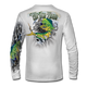 "This shirt is truly awesome, featuring Jason Mathias's fine art rendition of a lit up Mahi Mahi, Dorado or Dolphin, busting and ripping right out of the shirt after a school of Flying fish is sure to catch the eye and the fish. fine art design is sublimated onto our superior technology that definitely makes for a top favorite among all anglers and outdoor enthusiast world wide! Super jumbo back art print: 22"" to 22"" Sizing: Small through 4XL! Fabric: 3.8oz. 