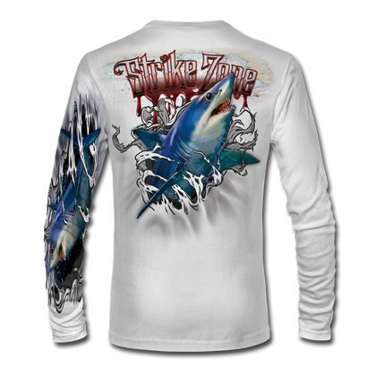 "This shirt is truly awesome, featuring Jason Mathias's fine art rendition of a lit up Mako Shark, busting and ripping right out of the shirt is sure to catch the eye and the fish. fine art design is sublimated onto our superior technology that definitely makes for a top favorite among all anglers and outdoor enthusiast world wide! Super jumbo back art print: 22"" to 22"" Sizing: Small through 4XL! Fabric: 3.8oz. 