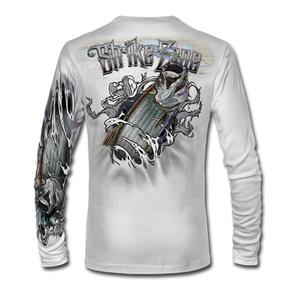 "This shirt is truly awesome, featuring Jason Mathias's fine art rendition of a huge Silver King Tarpon busting and ripping right out of the shirt after a school of mullet and greenies is sure to catch the eye and the fish. fine art design is sublimated onto our superior technology that definitely makes for a top favorite among all anglers and outdoor enthusiast world wide!   Say hello to the supreme comfort of the light weight, roomy and highly breathable Jason Mathias Strike Zone Performance Long Sleeve shirt! This awesome shirt offers many great performance qualities. So comfortable that you feel like you're not even wearing a shirt! Shirt keeps you cooler and drier which makes it a must when doing what you do best! Featuring up to UPF +30 solar protection, the Strike Zone Performance Long Sleeve is lightweight, comfortable, and sure to keep the sun's rays from penetrating through to your skin. This fabric is powered by moisture wicking technology which will keep you cooler in the summer and warmer in the winter. Super jumbo back art print: 22"" to 22"". Sizing: Small through 4XL! Fabric: 3.8oz. 
