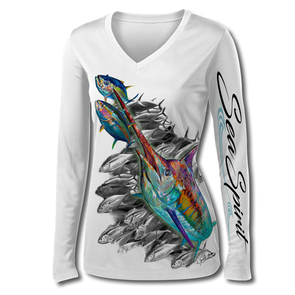 This Sea Spirit shirt is truly awesome, featuring Jason Mathias's fine art rendition of a lit up Blue Marlin amongst a school of Tuna, elegantly designed to enhance the figure is sure to catch the eye and the fish. fine art design is sublimated onto our superior technology that definitely makes for a top favorite among woman anglers world wide!