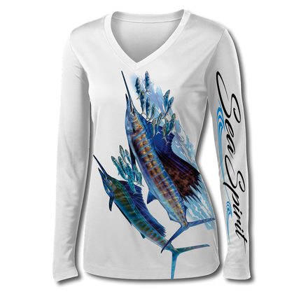This Sea Spirit shirt is very cute, featuring Jason Mathias's illustration of two lit up Sailfish going after a school of sardines, elegantly designed to enhance the figure is sure to catch the eye and the fish. fine art design is sublimated onto our superior technology that definitely makes for a top favorite among woman anglers world wide!