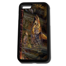 iPhone 8 fine art phone case by artist Jason Mathias: Carry around this unique piece of personalized art of a brilliant Snook ambushing finger Mullet in the mangroves while protecting your phone all at the same time!