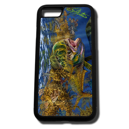 iPhone 8 fine art phone case by artist Jason Mathias: Carry around this unique piece of personalized art of a brilliantly lit up Mahi, Dorado or Dolphin fish ambushing Flying fish under the weed line while protecting your phone all at the same time!