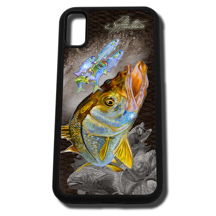 iPhone X fine art phone case by artist Jason Mathias: Carry around this unique piece of personalized art of a brilliant Snook ambushing finger Mullet and Greenies with a Speckled Sea Trout and Redfish in the background while protecting your phone all at the same time!