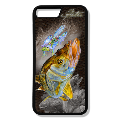 iPhone 8 plus fine art phone case by artist Jason Mathias: Carry around this unique piece of personalized art of a brilliant Snook ambushing finger Mullet and Greenies with a Speckled Sea Trout and Redfish in the background while protecting your phone all at the same time!  Our phone cases provide superior quality when compared with other slim silicone rubber cases. Our case provides a layer of silicone protection- and an extended lip to protect your phone screen from touching or rubbing on surfaces. Our cases also have a comfortable textured grip and easy access to all buttons and plugins. The art plate is extremely tough, a well shielded sublimated aluminum fine art plate that wont fade or scratch.   Case provides effective protection from dust, damage or any other unexpected situations.  (Printed and assembled in the USA)
