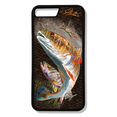 iPhone 8 plus fine art phone case by artist Jason Mathias: Carry around this unique piece of personalized art of a brilliant Redfish and Speckled Sea Trout ambushing a crab while protecting your phone all at the same time!