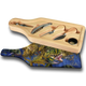 """Jason Mathias handmade Wine and Cheese 6-Piece Set Cutting Boards are absolutely stunning. Featuring a lit up bull Dolphin (Mahi Mahi) working the weed lines will add the perfect accent to your home or yacht. Artwork is sublimated and makes for the perfect conversation piece.   - Includes: glass cutting board top, corkscrew, stopper, drip collar, cheese knife and fork.  - The case has a recessed area for the cutting board to fit. It will lay  flush with the wood edge. Cutting board: 12 1/2"""" x 4 1/2"""", Overall size 13 1/2"""" x 5 1/2"""""""