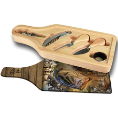 """Jason Mathias handmade Wine and Cheese 6-Piece Set Cutting Boards are absolutely stunning. Featuring a huge Large Mouth Bass against a blazing sunset will add the perfect accent to your home or yacht. Artwork is sublimated and makes for the perfect conversation piece.   - Includes: glass cutting board top, corkscrew, stopper, drip collar, cheese knife and fork.  - The case has a recessed area for the cutting board to fit. It will lay  flush with the wood edge. Cutting board: 12 1/2"""" x 4 1/2"""", Overall size 13 1/2"""" x 5 1/2"""""""