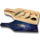 """Jason Mathias handmade Wine and Cheese 6-Piece Set Cutting Boards are absolutely stunning. Featuring a lit up broadbill Swordfish working a school of tasty calamari under a moonlight night will add the perfect accent to your home or yacht. Artwork is sublimated and makes for the perfect conversation piece.   - Includes: glass cutting board top, corkscrew, stopper, drip collar, cheese knife and fork.  - The case has a recessed area for the cutting board to fit. It will lay  flush with the wood edge. Cutting board: 12 1/2"""" x 4 1/2"""", Overall size 13 1/2"""" x 5 1/2"""""""