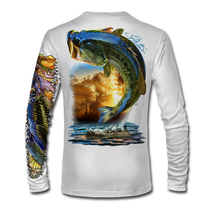 "(White) This Long sleeve shirt is truly awesome, featuring Jason Mathias's ""Large Mouth Bass"" fine art design sublimated onto our superior technology that definitely makes for a top favorite among all anglers and outdoor enthusiast world wide! This shirt portrays a huge Largemouth Bass leaping out of the water, framed by a golden sunset that just makes the colors on the fish POP!"