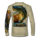 "(Tan) This shirt is truly awesome, featuring Jason Mathias's ""Large Mouth Bass"" fine art design sublimated onto our superior technology that definitely makes for a top favorite among all anglers and outdoor enthusiast world wide! This shirt portrays a huge Largemouth Bass leaping out of the water, framed by a golden sunset that just makes the colors on the fish POP!"
