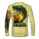 "(Pale Yellow) This shirt is truly awesome, featuring Jason Mathias's ""Large Mouth Bass"" fine art design sublimated onto our superior technology that definitely makes for a top favorite among all anglers and outdoor enthusiast world wide! This shirt portrays a huge Largemouth Bass leaping out of the water, framed by a golden sunset that just makes the colors on the fish POP!"