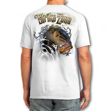 "Back (White) LOOKS AND FEELS JUST LIKE COTTON! This shirt is truly awesome, featuring Jason Mathias's fine art rendition of a Big toad of a Large Mouth Bass busting right out of the shirt after a Dragonfly is sure to catch the eye and the fish. fine art design is sublimated onto our super soft cotton feel technology that allows for practical everyday use and activities.   Jason Mathias Strike Zone Cotton Feel short sleeve shirt! Advanced cotton feel technology offers performance qualities in a top quality shirt that looks and fees just like a soft cotton. So comfortable that you feel like you're not even wearing a shirt! Helps keep you cooler and drier which makes it a must when doing what you do best! The Strike Zone Cotton Feel short sleeve is super comfortable, snag free and practical for everyday activities. This fabric is powered by moisture wicking technology which will keep you cooler in the summer and warmer in the winter.     Jersey knit Moisture wicking and antimicrobial properties Snag resistant Active fit Seamed single-needle 3/4"" collar Double-needle sleeve and bottom hems Quarter-turned to eliminate center crease 5 oz/ 100% poly  Made In America Sizing: Small though 3XL Super jumbo back sublimation art print: 22""x22"""