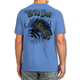 "Back (Carolina Blue) LOOKS AND FEELS JUST LIKE COTTON! This shirt is truly awesome, featuring Jason Mathias's fine art rendition of a Big toad of a Large Mouth Bass busting right out of the shirt after a Dragonfly is sure to catch the eye and the fish. fine art design is sublimated onto our super soft cotton feel technology that allows for practical everyday use and activities.   Jason Mathias Strike Zone Cotton Feel short sleeve shirt! Advanced cotton feel technology offers performance qualities in a top quality shirt that looks and fees just like a soft cotton. So comfortable that you feel like you're not even wearing a shirt! Helps keep you cooler and drier which makes it a must when doing what you do best! The Strike Zone Cotton Feel short sleeve is super comfortable, snag free and practical for everyday activities. This fabric is powered by moisture wicking technology which will keep you cooler in the summer and warmer in the winter.     Jersey knit Moisture wicking and antimicrobial properties Snag resistant Active fit Seamed single-needle 3/4"" collar Double-needle sleeve and bottom hems Quarter-turned to eliminate center crease 5 oz/ 100% poly  Made In America Sizing: Small though 3XL Super jumbo back sublimation art print: 22""x22"""