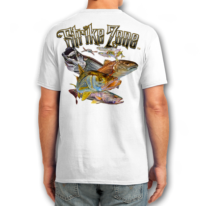 """Back (White) LOOKS AND FEELS JUST LIKE COTTON! This shirt is truly awesome, featuring Jason Mathias's fine art rendition of a Snook, Redfish, Tarpon and Trout inshore slam, busting right out of the shirt is sure to catch the eye and the fish. fine art design is sublimated onto our super soft cotton feel technology that allows for practical everyday use and activities.   Jason Mathias Strike Zone Cotton Feel short sleeve shirt! Advanced cotton feel technology offers performance qualities in a top quality shirt that looks and fees just like a soft cotton. So comfortable that you feel like you're not even wearing a shirt! Helps keep you cooler and drier which makes it a must when doing what you do best! The Strike Zone Cotton Feel short sleeve is super comfortable, snag free and practical for everyday activities. This fabric is powered by moisture wicking technology which will keep you cooler in the summer and warmer in the winter.   Jersey knit Moisture wicking and antimicrobial properties Snag resistant Active fit Seamed single-needle 3/4"""" collar Double-needle sleeve and bottom hems Quarter-turned to eliminate center crease 5 oz/ 100% poly  Made In America Sizing: Small though 3XL Super jumbo back sublimation art print: 22""""x22"""""""