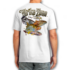 "Back (White) LOOKS AND FEELS JUST LIKE COTTON! This shirt is truly awesome, featuring Jason Mathias's fine art rendition of a Snook, Redfish, Tarpon and Trout inshore slam, busting right out of the shirt is sure to catch the eye and the fish. fine art design is sublimated onto our super soft cotton feel technology that allows for practical everyday use and activities.   Jason Mathias Strike Zone Cotton Feel short sleeve shirt! Advanced cotton feel technology offers performance qualities in a top quality shirt that looks and fees just like a soft cotton. So comfortable that you feel like you're not even wearing a shirt! Helps keep you cooler and drier which makes it a must when doing what you do best! The Strike Zone Cotton Feel short sleeve is super comfortable, snag free and practical for everyday activities. This fabric is powered by moisture wicking technology which will keep you cooler in the summer and warmer in the winter.   Jersey knit Moisture wicking and antimicrobial properties Snag resistant Active fit Seamed single-needle 3/4"" collar Double-needle sleeve and bottom hems Quarter-turned to eliminate center crease 5 oz/ 100% poly  Made In America Sizing: Small though 3XL Super jumbo back sublimation art print: 22""x22"""