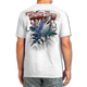 "Back (White) LOOKS AND FEELS JUST LIKE COTTON! This shirt is truly awesome, featuring Jason Mathias's fine art rendition of a fierce Mako Shark, busting right out of the shirt is sure to catch the eye and the fish. fine art design is sublimated onto our super soft cotton feel technology that allows for practical everyday use and activities.   Jason Mathias Strike Zone Cotton Feel short sleeve shirt! Advanced cotton feel technology offers performance qualities in a top quality shirt that looks and fees just like a soft cotton. So comfortable that you feel like you're not even wearing a shirt! Helps keep you cooler and drier which makes it a must when doing what you do best! The Strike Zone Cotton Feel short sleeve is super comfortable, snag free and practical for everyday activities. This fabric is powered by moisture wicking technology which will keep you cooler in the summer and warmer in the winter.   Jersey knit Moisture wicking and antimicrobial properties Snag resistant Active fit Seamed single-needle 3/4"" collar Double-needle sleeve and bottom hems Quarter-turned to eliminate center crease 5 oz/ 100% poly  Made In America Sizing: Small though 3XL Super jumbo back sublimation art print: 22""x22"""