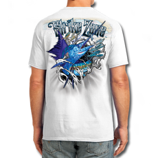 "Back (White) LOOKS AND FEELS JUST LIKE COTTON! This shirt is truly awesome, featuring Jason Mathias's fine art rendition of a lit up Sailfish, busting right out of the shirt is sure to catch the eye and the fish. fine art design is sublimated onto our super soft cotton feel technology that allows for practical everyday use and activities.   Jason Mathias Strike Zone Cotton Feel short sleeve shirt! Advanced cotton feel technology offers performance qualities in a top quality shirt that looks and fees just like a soft cotton. So comfortable that you feel like you're not even wearing a shirt! Helps keep you cooler and drier which makes it a must when doing what you do best! The Strike Zone Cotton Feel short sleeve is super comfortable, snag free and practical for everyday activities. This fabric is powered by moisture wicking technology which will keep you cooler in the summer and warmer in the winter.   Jersey knit Moisture wicking and antimicrobial properties Snag resistant Active fit Seamed single-needle 3/4"" collar Double-needle sleeve and bottom hems Quarter-turned to eliminate center crease 5 oz/ 100% poly  Made In America Sizing: Small though 3XL Super jumbo back sublimation art print: 22""x22"""